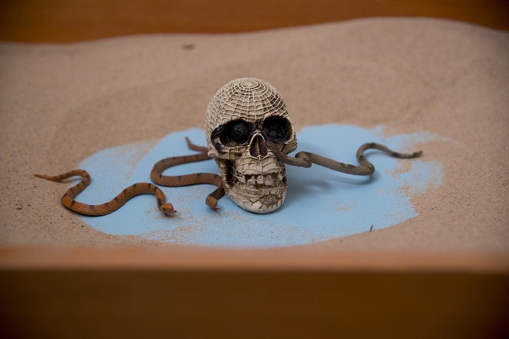 sandplay skull snakes death symbol